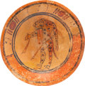 Antiques:Antiquities, Maya Tripod Plate with Jaguar/Man...