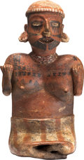 Antiques:Antiquities, Seated Female Figure with Painted Face...