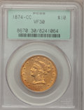 Liberty Eagles, 1874-CC $10 VF30 PCGS....
