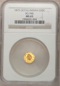 California Fractional Gold, 1875 50C Indian Octagonal 50 Cents, BG-946, R.4, MS65 NGC....