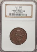 Medals And Tokens, 1849 $10 J-C1849-1 MS61 BN NGC. (#661849)...