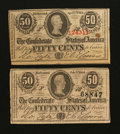 Confederate Notes:1863 Issues, 50 Cents 1863 and 1864.. ... (Total: 2 notes)