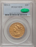 Liberty Eagles: , 1854-S $10 VF35 PCGS. CAC. PCGS Population (15/230). NGC Census:(4/385). Mintage: 123,826. Numismedia Wsl. Price for probl...