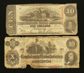 Confederate Notes:1862 Issues, Two Different $10's.. ... (Total: 2 notes)