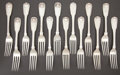 Silver Flatware, British:Flatware, A SET OF FOURTEEN WILLIAM IV DINNER FORKS . William Theobalds &Lockington Bunn, London, England, 1835-1836. Marks: (lion pa...(Total: 14 Items)