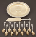 Silver Flatware, American:Dominick & Haff, A CASED FIFTEEN PIECE AMERICAN SILVER AND SILVER GILT ICE CREAMSERVICE . Dominick & Haff, New York, New York, circa 1887...(Total: 15 Items)