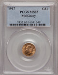 Commemorative Gold: , 1917 G$1 McKinley MS65 PCGS. PCGS Population (568/406). NGC Census:(264/226). Mintage: 10,000. Numismedia Wsl. Price for p...