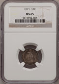 Seated Dimes: , 1871 10C MS65 NGC. NGC Census: (8/6). PCGS Population (5/6).Mintage: 906,700. Numismedia Wsl. Price for problem free NGC/P...