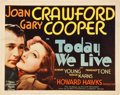 "Movie Posters:Romance, Today We Live (MGM, 1933). Title Lobby Card (11"" X 14"").. ..."