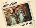 "Movie Posters:Comedy, Laurel and Hardy Lot; Saps at Sea (United Artists, 1939) and AChump at Oxford (United Artists, 1940). Lobby Cards (2) (11""...(Total: 2 Items)"
