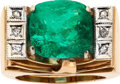 Estate Jewelry:Rings, Gentleman's Emerald, Diamond, Pink Gold Ring. ...