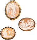 Estate Jewelry:Lots, Shell Cameo, Gold Pendant-Brooches. ... (Total: 3 Items)