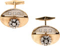 Estate Jewelry:Cufflinks, Gentleman's Diamond, Two-Tone Gold Cuff Links. ... (Total: 2 Items)