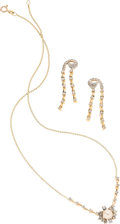 Estate Jewelry:Suites, Cultured Pearl, Diamond, Gold Jewelry Suite. ... (Total: 3 Items)