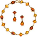 Estate Jewelry:Suites, Citrine, Garnet, Diamond, Gold Jewelry Suite. ...