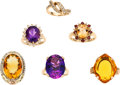 Estate Jewelry:Lots, Diamond, Multi-Stone, Gold Rings. ... (Total: 6 Items)