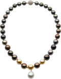 Estate Jewelry:Pearls, Multi-Color South Sea Cultured Pearl, Diamond, Gold Necklace. ...
