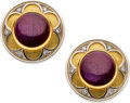 Estate Jewelry:Earrings, Ruby, Diamond, Gold Earrings. ... (Total: 2 Items)