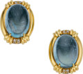 Estate Jewelry:Earrings, Aquamarine, Diamond, Gold Earrings, Gumps. ... (Total: 2 Items)