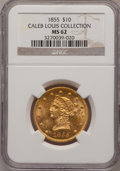 Liberty Eagles: , 1855 $10 MS62 NGC. Ex: Caleb Louis Collection. NGC Census: (3/4).PCGS Population (5/5). Mintage: 121,701. Numismedia Wsl. ...