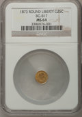 California Fractional Gold: , 1873 25C Liberty Round 25 Cents, BG-817, R.3, MS64 NGC. NGC Census:(12/11). PCGS Population (48/21). (#10678)...