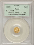 California Fractional Gold: , 1869 50C Liberty Round 50 Cents, BG-1020, Low R.4, MS63 PCGS. PCGSPopulation (11/2). NGC Census: (2/0). (#10849)...