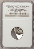 Undated 5C Jefferson Nickel--Off Center on 45% Straight Clip Planchet--MS61 NGC. Ex: New England Collection. 2.8 Grams...