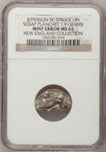 Undated 5C Jefferson Nickel--Struck on a Scrap Planchet, 1.9 Grams--MS63 NGC. Ex: New England Collection. From The New E...