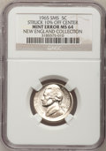 Errors, 1965 5C SMS Jefferson Nickel--Struck 10% Off-Center--MS64 NGC. Ex: New England Collection.. From The New England Collecti...