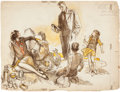 Mainstream Illustration, HENRY PATRICK RALEIGH (American, 1880-1944). Sacrifice,1928. Watercolor, graphite, and gouache on paper. 22 x 29 in.. S...