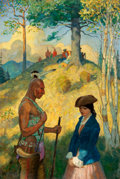 Mainstream Illustration, PETER HURD (American, 1904-1984). The Captives, Last of theMohicans book illustration, c. 1928. Oil on canvas. 36 x 24 ...
