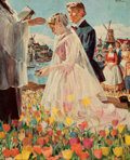 Mainstream Illustration, RICO TOMASO (American, 1898-1985). Wedding in Holland. Oilon canvas. 37 x 30 in.. Signed upper right. ...