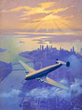 Mainstream Illustration, RUEHL FREDERICK HECKMAN (American, 1890-1942). Airplane over NewYork. Oil on canvas. 40 x 30.5 in.. Signed lower right...