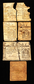 Colonial Notes:Mixed Colonies, Mixed Colonials. Three Notes and Two Halves of Notes. About Good.. ... (Total: 5 items)