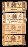 Confederate Notes:Group Lots, Confederate Group Lot T55 $1 1862 (2), T62 $1 1863, & T71 $11864.. ...