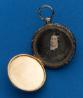Timepieces:Other , Pocket Watch Style, Silver & Gold Antique Photo Locket. ...