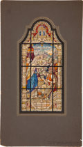 Antiques:Posters & Prints, [Painting]. H. Oidtmann Studios. Original Design for Stained GlassWindow, ca. 1947. Watercolor on board, window design...