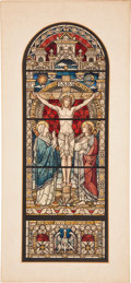 Antiques:Posters & Prints, [Painting]. Study for Stained Glass Window, ca. 1920. Watercolor and ink on board, window design...
