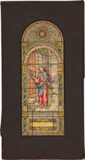 Antiques:Posters & Prints, [Painting]. F. G. Wiedemann. Study for Stained Glass Memorial Window, ca. 1920. Watercolor and ink on board, window desi...