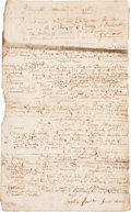 "Autographs:Statesmen, Plymouth Court Docket, Dated 1716. One and one-quarter pages, 7.5""x 12, ""Plimouth,"" March 7, 1716, concerning several c..."