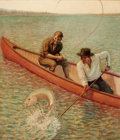 Mainstream Illustration, CLAYTON (20th Century). Fishing From the Canoe. Oil oncanvas. 28 x 24 in.. Signed lower right. From the Estate ofC...
