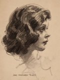 Mainstream Illustration, JAMES MONTGOMERY FLAGG (American, 1877-1960). Portrait of IlseHoffman. Charcoal on paper. 15.5 x 11.5 in.. Signed lower...