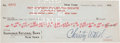 Autographs:Checks, 1927 Babe Ruth Double Signed Check....