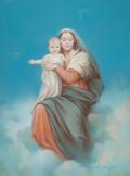 Mainstream Illustration, MABEL ROLLINS HARRIS (American, 20th Century). Madonna andChild. Pastel on canvas. 24 x 17 in.. Signed lower right. ...