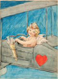Mainstream Illustration, AMERICAN ARTIST (20th Century). Cupid in Flight. Watercoloron paper. 11 x 8 in.. Not signed. From the Estate of Cha...