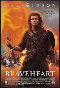 """Braveheart (Paramount, 1995). One Sheet (27"""" X 40"""") DS Advance. Action"""