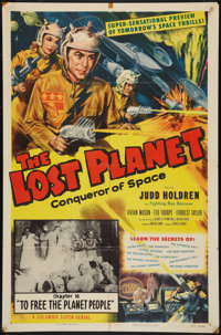 """The Lost Planet (Columbia, 1953). One Sheet (27"""" X 41"""") Chapter 10 -- """"To Free the Planet People."""" S..."""