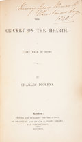 Books:First Editions, Charles Dickens. The Cricket on the Hearth. London: Printedand Published for the Author, by Bradbury and Evans,...