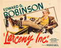 "Movie Posters:Comedy, Larceny, Inc. (Warner Brothers, 1942). Half Sheet (22"" X 28"") StyleB.. ..."