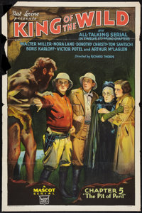 "King of the Wild (Mascot, 1931). One Sheet (27"" X 41"") Flat Folded. Chapter 5 -- ""The Pit of Peril.""..."